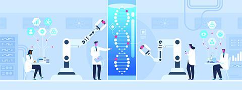 Illustratie wetenschappers en techniek samen aan het werk.